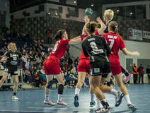 Unidentified players in action at Handball match Royalty Free Stock Image