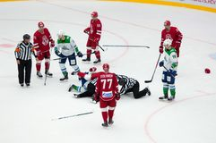 Unidentified players fight. PODOLSK - SEPTEMBER 28, 2018: Unidentified players fight on hockey game Vityaz vs Salavat Yulayev on Russia KHL championship on royalty free stock images