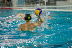 Unidentified players in water-polo game Royalty Free Stock Image
