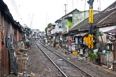 Unidentified Poor People Living In Slum, Indonesia. Royalty Free Stock Photography