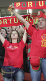 Unidentified Portugal soccer fans before UEFA EURO 2012 match in Stock Images