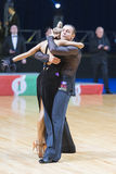 Unidentified Professional Dance Couple Performs Adults Latin-American Program on WDSF Minsk Open Dance Festival-2017 Stock Photography
