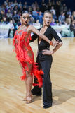Unidentified Professional Dance Couple Performs Youth Latin-American Program on WDSF Minsk Open Dance Festival-2017 Stock Photos