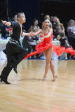 Unidentified Professional Dance Couple Performs Youth Latin-American Program on WDSF Minsk Open Dance Festival-2017 Stock Photography
