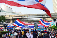 Unidentified protesters gather Patumwan intersection to anti government and ask to reform before election Stock Photos