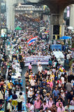 Unidentified protesters gather Patumwan intersection to anti government and ask to reform before election Stock Image