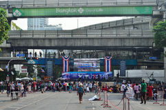 Unidentified protesters gather Ratchaprasong Intersection to anti government and ask to reform before election Stock Images