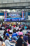 Unidentified protesters gather Ratchaprasong Intersection to anti government and ask to reform before election Stock Photo
