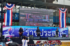 Unidentified protesters gather Ratchaprasong Intersection to anti government and ask to reform before election. BANGKOK-FEB 1 : Unidentified protesters gather Royalty Free Stock Images