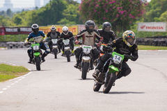 Unidentified racers Kawasaki KSR Royalty Free Stock Photo