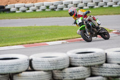 Unidentified racers Kawasaki KSR Royalty Free Stock Images