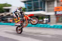 Unidentified racers stunt super motard bike Royalty Free Stock Photo