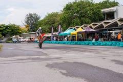 Unidentified racers stunt super motard bike Stock Photos