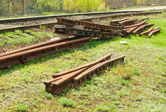 Unidentified railroad tracks and railway points Royalty Free Stock Image