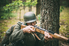 Unidentified re-enactor dressed as German soldier Royalty Free Stock Photos