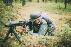 Unidentified re-enactor dressed as German soldier Stock Photography