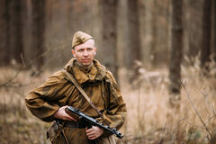 Unidentified re-enactor dressed as Russian Soviet Stock Photography