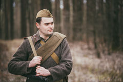 Unidentified re-enactor dressed as Russian Soviet Stock Photos