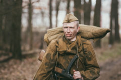 Unidentified re-enactor dressed as Russian Soviet Royalty Free Stock Photo