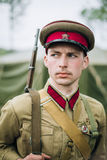 Unidentified re-enactor dressed as Soviet officer Stock Photos