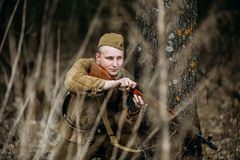 Unidentified re-enactor dressed as Soviet russian Stock Images
