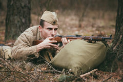 Unidentified re-enactor dressed as Soviet russian Royalty Free Stock Image