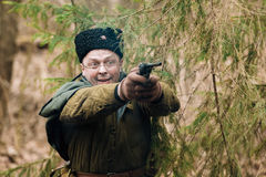 Unidentified re-enactor dressed as Soviet russian Stock Photography