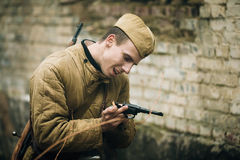 Unidentified re-enactor dressed as Soviet russian Stock Photo