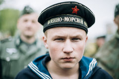 Unidentified re-enactor dressed as Soviet sailor during events d Stock Image