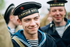 Unidentified re-enactor dressed as Soviet sailor Stock Photography