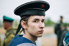 Unidentified re-enactor dressed as Soviet sailor Stock Image