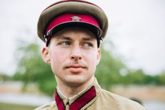 Unidentified re-enactor dressed as Soviet soldier Royalty Free Stock Photo
