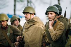 Unidentified re-enactor dressed as Soviet soldier Stock Images