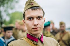 Unidentified re-enactor dressed as Soviet soldier Royalty Free Stock Photos