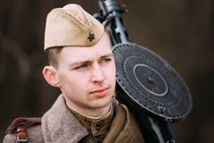 Unidentified re-enactor dressed as Soviet soldier Royalty Free Stock Images