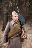 Unidentified re-enactor dressed as Soviet soldier Stock Photo