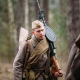 Unidentified re-enactor dressed as Soviet soldier Stock Image