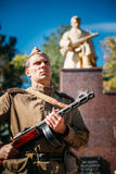 Unidentified re-enactor dressed as Soviet soldier Royalty Free Stock Photography