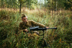 Unidentified re-enactor dressed as World War II Soviet russian s Royalty Free Stock Image
