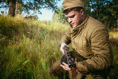 Unidentified re-enactor dressed as World War II Soviet russian s Royalty Free Stock Photo