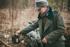 Unidentified re-enactors dressed as german wehrmacht soldier in Stock Photography