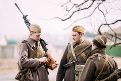 Unidentified re-enactors dressed as Russian Soviet Royalty Free Stock Photo