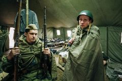 Unidentified re-enactors dressed as Soviet Royalty Free Stock Images