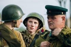 Unidentified re-enactors dressed as Soviet Royalty Free Stock Photos