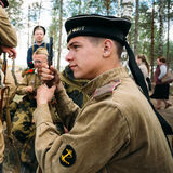Unidentified re-enactors dressed as Soviet Russian Royalty Free Stock Photography