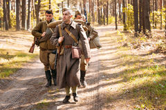Unidentified re-enactors dressed as Soviet russian Stock Images