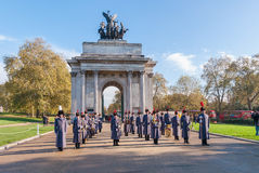 Unidentified Regiments as part of Remembrance Day Parade in front of Wellington Arch in London Royalty Free Stock Photo