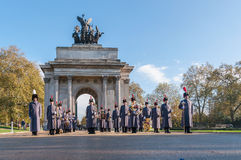 Unidentified Regiments as part of Remembrance Day Parade in front of Wellington Arch in London Stock Photos