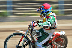 Unidentified rider. BRAILA, ROMANIA - May 11: Unidentified rider participate at National Championship of Dirt Track on May 11, 2014 on Braila, Romania Stock Images