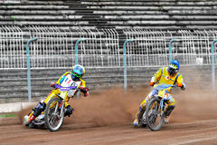 Unidentified rider. BRAILA, ROMANIA - May 31: Unidentified rider participate at National Championship of Dirt Track on May 31, 2014 on Braila, Romania Royalty Free Stock Photos
